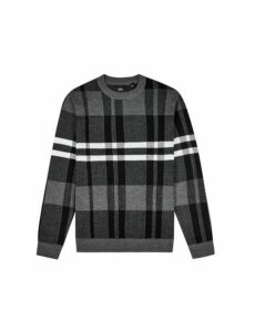 Mens Grey Checked Knitted Crew Sweater, LT GREY