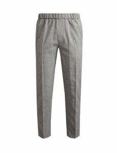 Mens Tapered Stretch Side Stripe Trousers, Grey