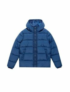 Mens Rich Blue Midweight Hooded Padded Jacket, Blue