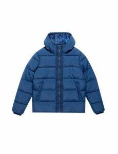 Mens Rich Blue Midweight Hooded Puffer Jacket, Blue