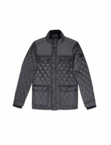 Mens Black Diamond Quilted Jacket, Black