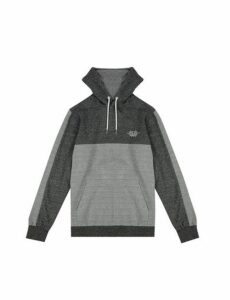 Mens Grey Cut And Sew Overhead Hoodie, CHARCOAL