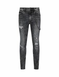 Mens Grey Marble Tyler Skinny Fit Jeans With Chain, GREY