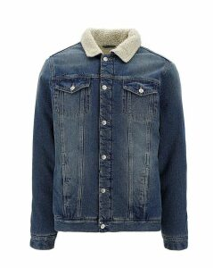 Mid Wash Borg Lined Denim Jacket Long
