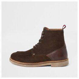 Mens River Island Dark Brown suede apron toe lace-up boots
