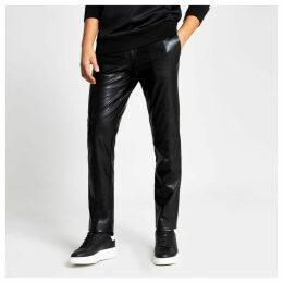 Mens River Island Black faux leather skinny trousers