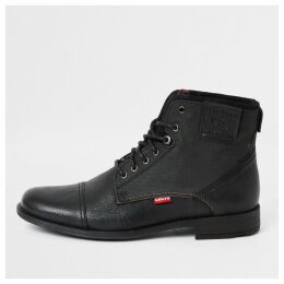 Mens River Island Levi's Black Fowler lace-up ankle boots