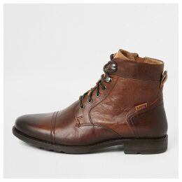Mens River Island Levi's Brown Reddinger lace-up ankle boots