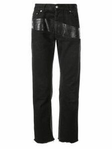 Helmut Lang Pre-Owned 1997 varnished stripe trousers - Black