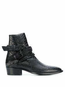 Amiri croc-effect ankle boots - Black