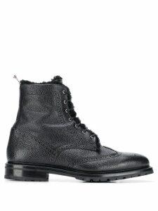 Thom Browne Shearling Lining Wingtip Boot - Black