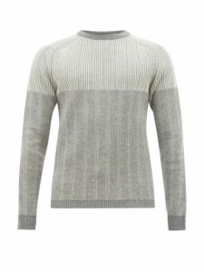 Falke Ess - Striped Ribbed Virgin Wool Blend Sweater - Mens - Grey