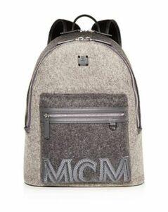 Mcm Stark Loden Color-Block Wool Backpack