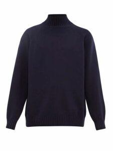 Raey - Funnel Neck Wool Sweater - Mens - Navy