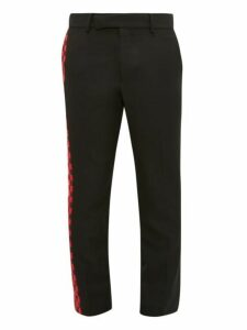 Haider Ackermann - Chequered Panel Cotton Blend Twill Trousers - Mens - Black Red