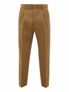 Ami - Pleated Waist Virgin Wool Trousers - Mens - Camel