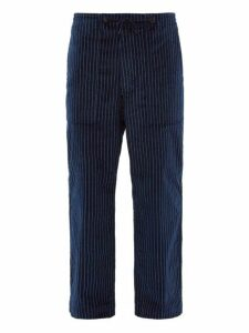 Needles - Chalk Striped Wide Leg Cotton Trousers - Mens - Navy