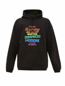 Vetements - Overpriced Birthday Cotton Hooded Sweatshirt - Mens - Black