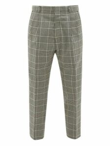 Ami - Check Tapered Wool Trousers - Mens - Grey