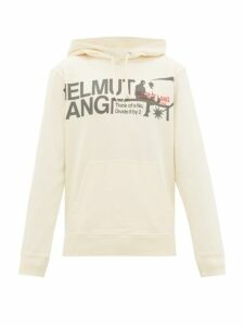 Helmut Lang - Logo Print Cotton Hooded Sweatshirt - Mens - White