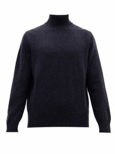 Thom Sweeney - Wool Blend High Neck Sweater - Mens - Navy