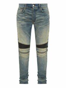 Amiri - Mx2 Leather Panel Distressed Skinny Jeans - Mens - Indigo