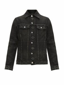Amiri - Studded Denim Trucker Jacket - Mens - Black