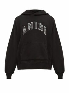 Amiri - College Appliqué Logo Cotton Hooded Sweatshirt - Mens - Black