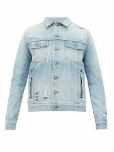 Balmain - Logo Print Distressed Denim Jacket - Mens - Blue