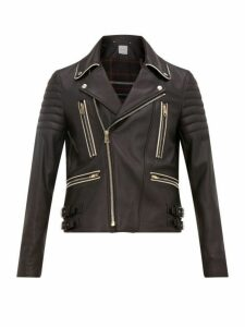 Paul Smith - Moto Piped Grained Leather Biker Jacket - Mens - Black