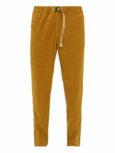 White Sand - Adjustable Mid Rise Waist Corduroy Trousers - Mens - Beige