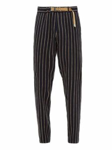 White Sand - Belted Chenille Striped Trousers - Mens - Navy Multi