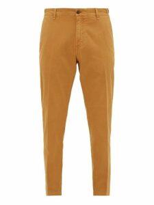 White Sand - Stretch Cotton Slim Leg Chino Trousers - Mens - Beige