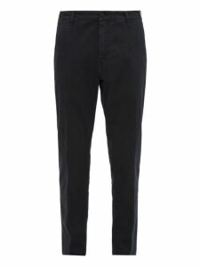 White Sand - Stretch Cotton Slim Leg Chino Trousers - Mens - Black