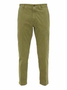 White Sand - Stretch Cotton Slim Leg Chino Trousers - Mens - Khaki