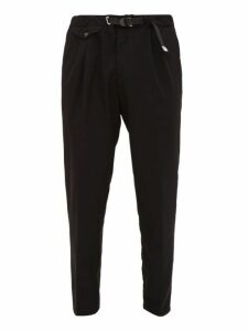 White Sand - Belted Brushed Twill Tapered Trousers - Mens - Black