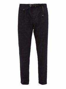 White Sand - Adjustable Mid Rise Waist Canvas Trousers - Mens - Black