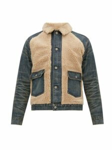 Rrl - Faux Shearling And Denim Jacket - Mens - Blue