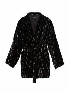 Balenciaga - Eiffel Tower Print Velvet Robe Jacket - Mens - Black