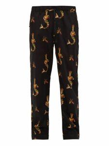 Desmond & Dempsey - Sirena Printed Cotton Pyjama Trousers - Mens - Black Multi