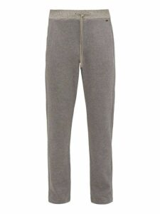 Hanro - Logo Plaque Cotton Piqué Pyjama Trousers - Mens - Grey Multi