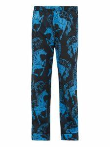Desmond & Dempsey - Caballo Horse Print Cotton Pyjama Trousers - Mens - Blue Multi