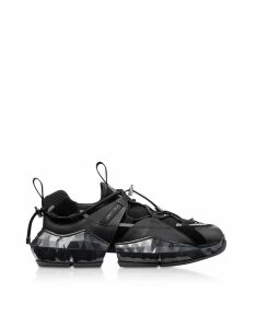 Jimmy Choo Designer Shoes, Black Diamond Trial Sneakers w/ Stretch Mesh