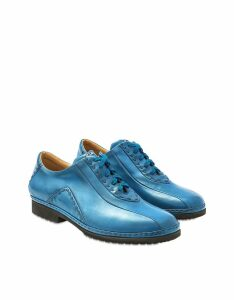 Pakerson Designer Shoes, Sky Blue Italian Hand Made Calf Leather Lace-up Shoes