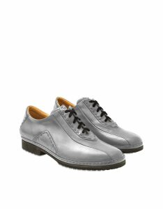 Pakerson Designer Shoes, Gray Italian Hand Made Leather Lace-up Shoes