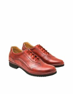 Pakerson Designer Shoes, Red Italian Handmade Leather Lace-up Shoes