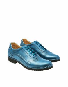 Pakerson Designer Shoes, Sky Blue Italian Handmade Leather Lace-up Shoes
