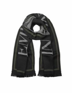 Emporio Armani Designer Men's Scarves, Black Woven Signature Wool Blend Men's Scarf