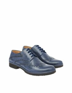 Pakerson Designer Shoes, Blue Italian Handmade Leather Lace-Up Casual Shoes
