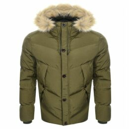 Pretty Green Bowman Quilted Hooded Jacket Khaki